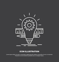 development idea bulb pencil scale icon line vector image