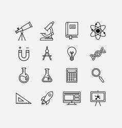 education flat icon set science icon set vector image