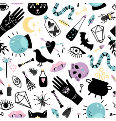elements for magician seamless pattern vector image
