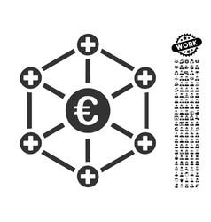 Euro medical network icon with men bonus vector