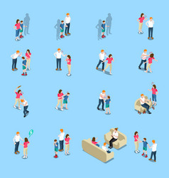 Family problems isometric icons vector
