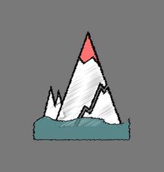 Flat shading style icon iceberg with crack vector
