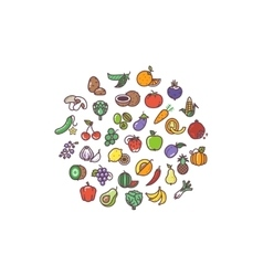Fruit and vegetables organic flat icons in circle vector