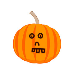 funny cartoon pumpkin with a skull face vector image