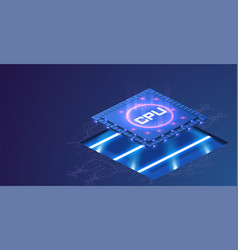 futuristic microchip processor with lights on the vector image