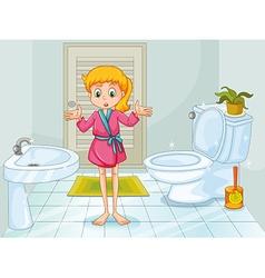 Girl standing in clean bathroom vector image