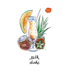 Glass milk shake with straw and coconut vector