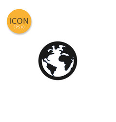 globe world map icon isolated flat style vector image