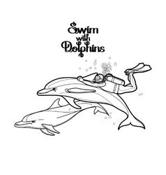 Graphic scuba diver riding the dolphin vector