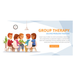Group therapy cartoon banner vector