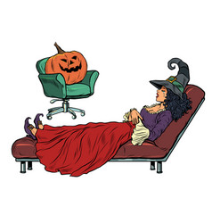 halloween witch and pumpkin psychotherapy session vector image