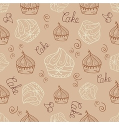 Hand drawn seamless with set of cakes vector image vector image