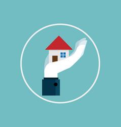 hand holding home falt design vector image