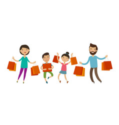 happy family with packages or bags in their hands vector image