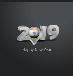 Happy new year 2019 grey typography with india vector