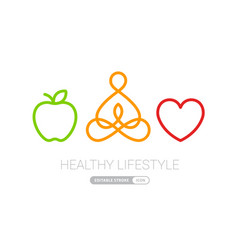Healthy lifestyle icons heart yoga and apple eps10 vector