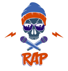 Hip hop music logo or label with wicked skull and vector