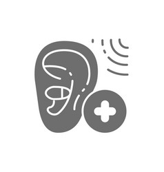 Increase volume in hearing aid gray icon vector