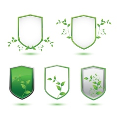 insulated shield banner with green leaves on a vector image