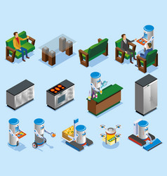 isometric robotic restaurant industry composition vector image