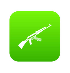 Kalashnikov machine icon digital green vector