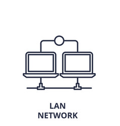 Lan network line icon concept lan network vector