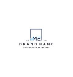 Letter me square logo finance design vector
