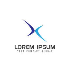 letter x sport logo design concept template vector image