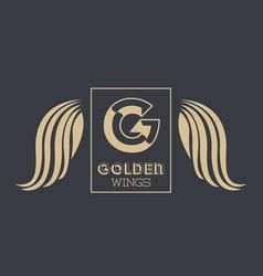 luxury golden wings vector image