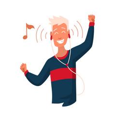 Man listening to music hand dancing cartoon vector