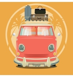 Minibus with suitcases and palm trees vector image