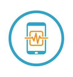 Mobile medical supervision icon flat design vector
