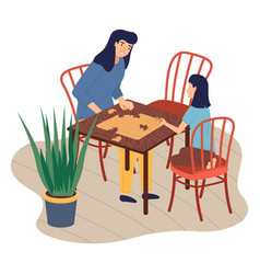 Mother and daughter together at home playing table vector