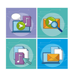 multimedia and internet vector image