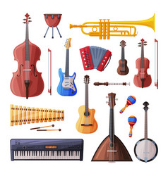 musical instruments set cello violin guitar vector image