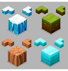 Nature isometric Ice desert land and water vector image