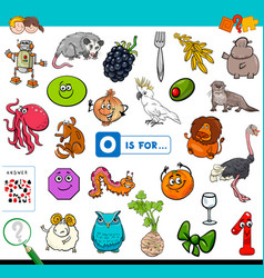 O is for educational game for children vector