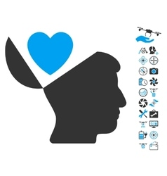 Open mind love heart icon with air drone tools vector