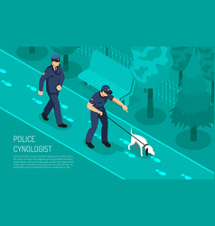Police cynologist isometric composition vector