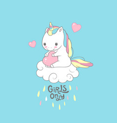 positive baby unicorn girls only typography print vector image