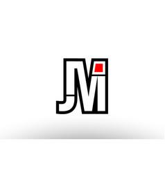 Red and black alphabet letter jm j m logo vector