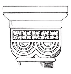 romanesque double-cushion capital vintage vector image