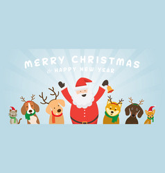 Santa claus with cat and dogs vector