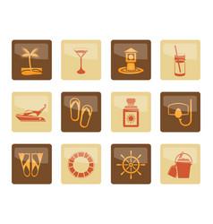 sea marine and holiday icons vector image