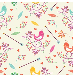 Seamless colorful floral pattern with birds and vector image
