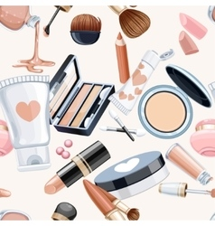 Seamless pattern from cosmetics objects creameye vector