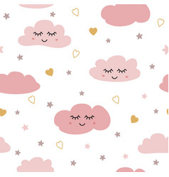 seamless pattern with smiling sleeping clouds vector image