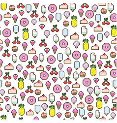 seamless pixel pattern with cakes ice cream candy vector image