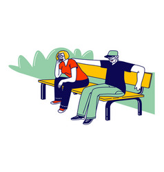 senior couple characters sitting together on bench vector image