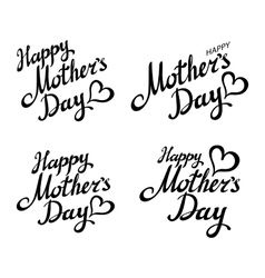 set Happy Mothers Day Greeting Card Black vector image